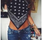 tank top,bandana print,bandana tee,black,white,crop tops,shorts,top,jeans