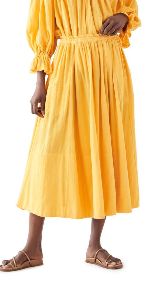 Kondi Drawstring Gauze Skirt in gold