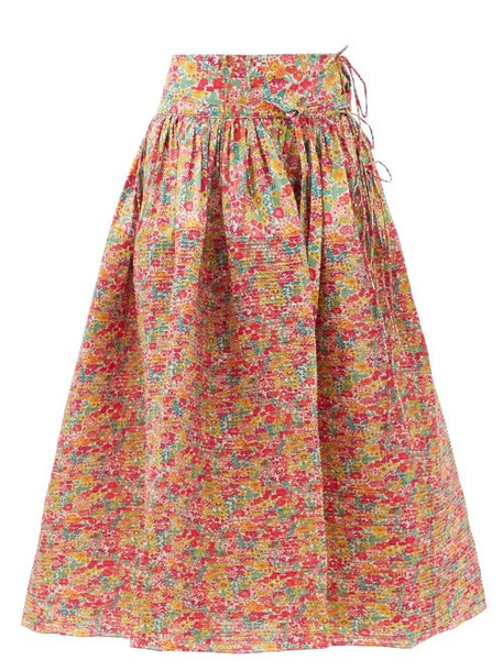 Horror Vacui - Toga Pintucked Floral-print Cotton Skirt - Womens - Red Multi