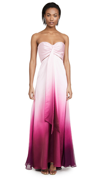 Jonathan Simkhai Ombre Satin Cutout Bustier Gown in magenta
