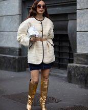 shoes,knee high boots,mini skirt,denim skirt,oversized jacket,white bag