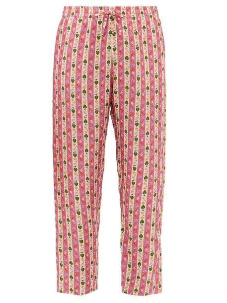 Muzungu Sisters - Floral-striped Silk-twill Trousers - Womens - Pink Print