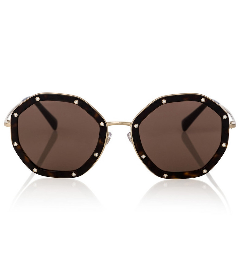 Valentino embellished acetate sunglasses in brown