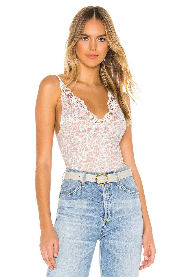 Thistle & Spire Marion Crochet Lace Bodysuit in white