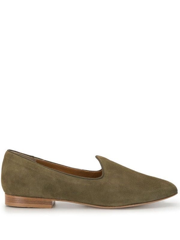Le Monde Beryl suede 15mm slippers in green