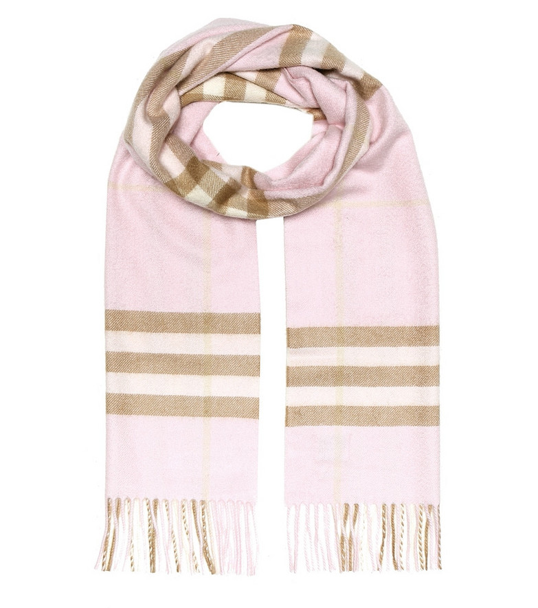 Burberry Check cashmere scarf in pink