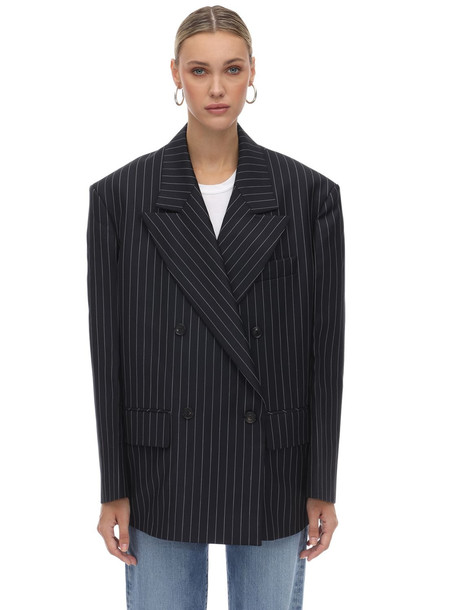 WE11 DONE Striped Double Breasted Blazer in grey