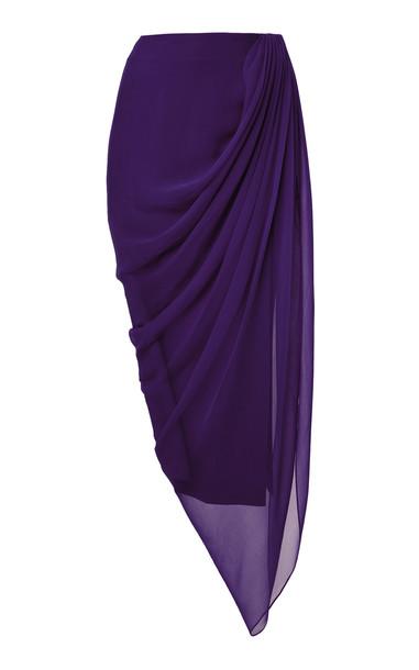 Prabal Gurung Tisese Draped Silk Skirt in purple
