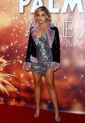 coat,sequins,sequin dress,metallic,silver,celebrity,olivia holt,mini dress,jacket