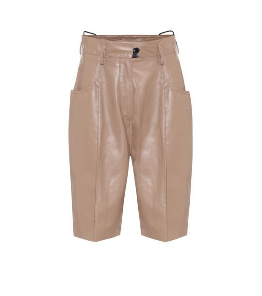 Petar Petrov Hugo high-rise leather shorts in neutrals