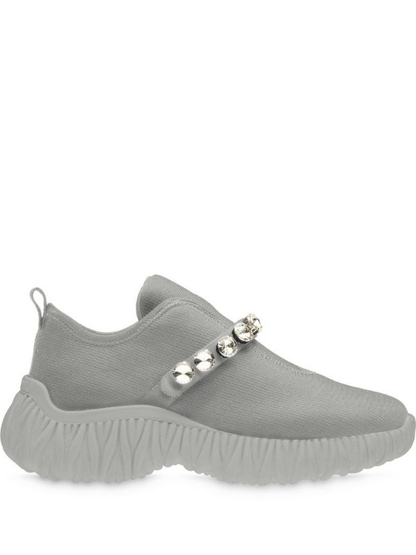 Miu Miu crystal-embellished knitted slip-on sneakers in grey