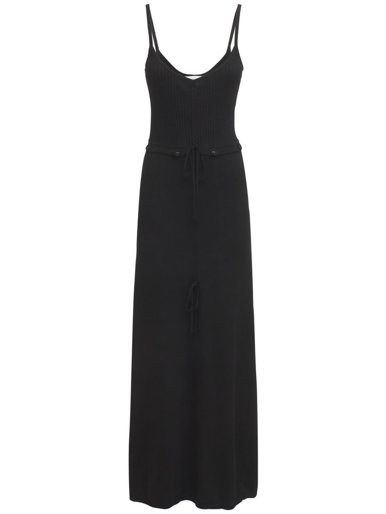 CHRISTOPHER ESBER Disconnected Ruched Viscose Nylon Dress in black