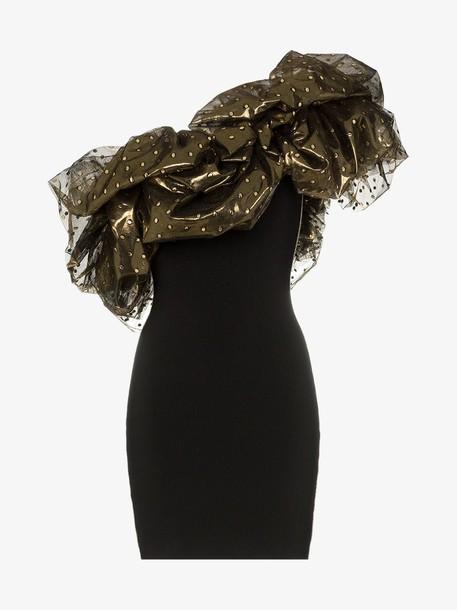 Alexandre Vauthier one shoulder detail mini dress in gold