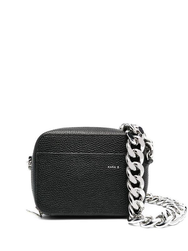 Kara zip-up leather crossbody bag in black