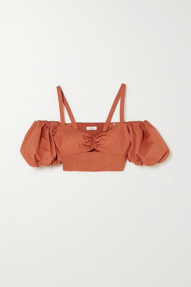 A.L.C. A.L.C. - A.l.c. X Petra Flannery Melody Cold-shoulder Cropped Cotton-blend Poplin Top - Orange