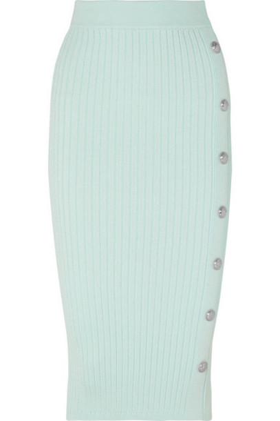 Balmain - Button-embellished Ribbed Stretch-knit Midi Skirt - Light green