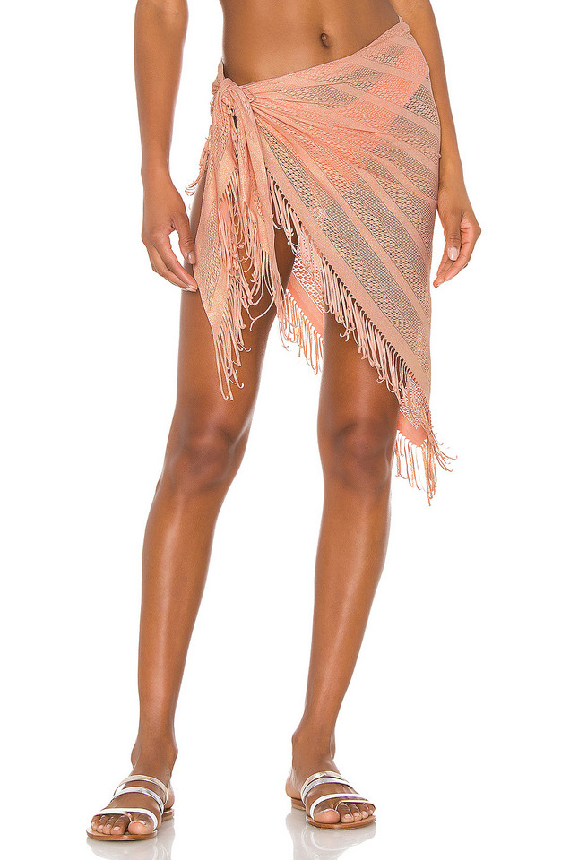 Beach Bunny Indian Summer Wrap Skirt in peach