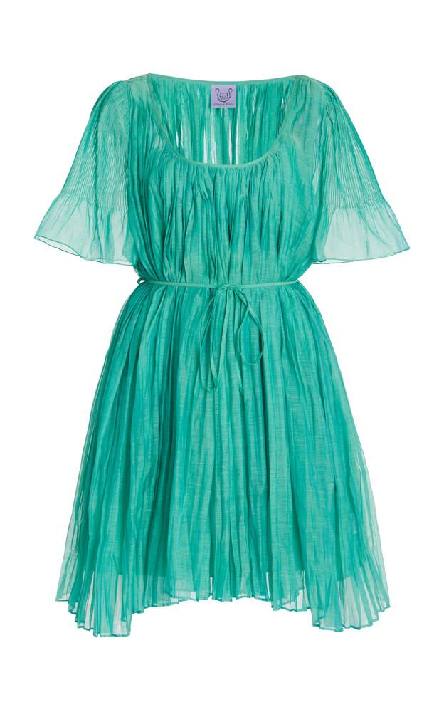 Thierry Colson Sparta Pleated Cotton-Silk Mini Dress in green