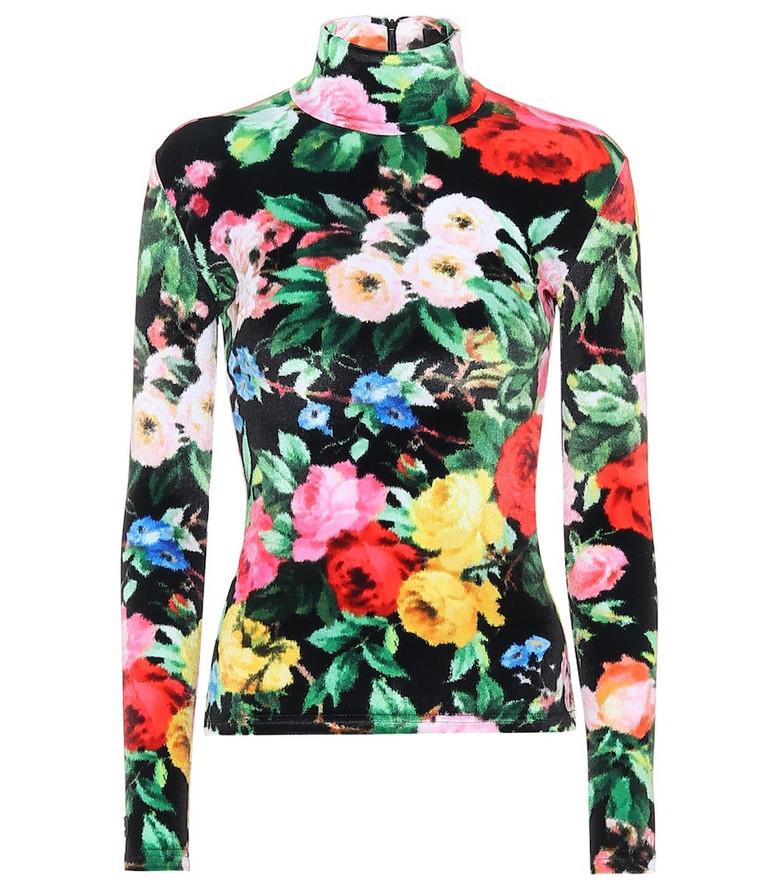 Richard Quinn Floral velour shirt in black