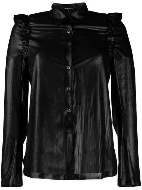 Ann Demeulemeester faux leather ruffle shirt in black