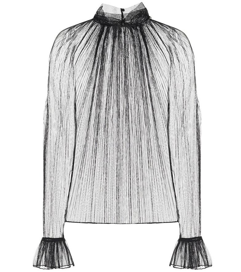 Saint Laurent Pleated silk-tulle blouse in black