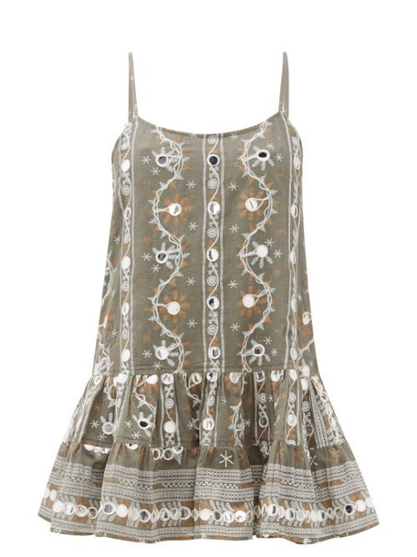 Juliet Dunn - Nomad Mirror Embroidered Cotton Dress - Womens - Khaki Print