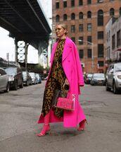 coat,long coat,pink coat,sandal heels,tights,asymmetrical,midi dress,transparent  bag