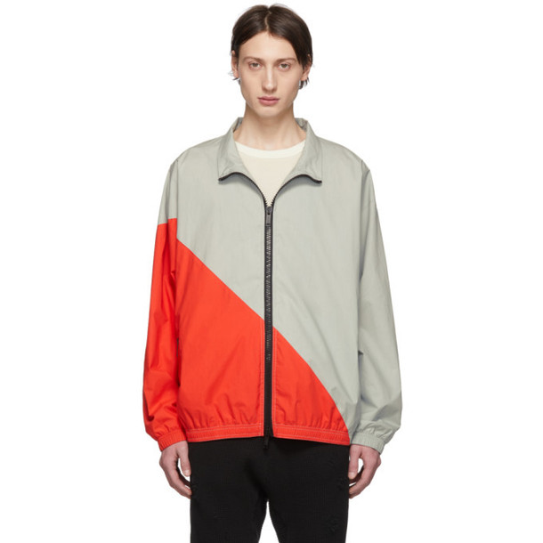 Unravel Grey & Red Cotton Motion Windbreaker Jacket