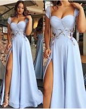 dress,light blue,long dress,formal dress,formal event outfit