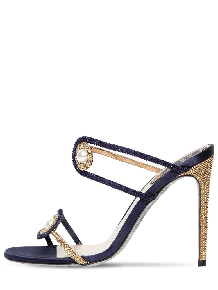 RENÉ CAOVILLA 105mm Embellished Satin Sandals in navy / gold