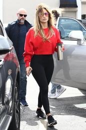 sweater,leggings,celebrity,jennifer lopez,red,sweatshirt,casual