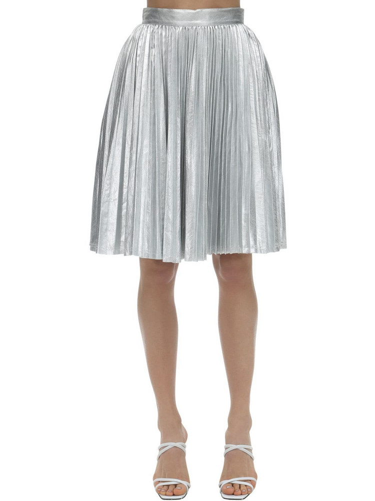 PUSHBUTTON Pleated Metallic Skirt in silver