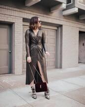 dress,long sleeve dress,maxi dress,v neck dress,ankle boots,snake skin,ysl bag,crossbody bag