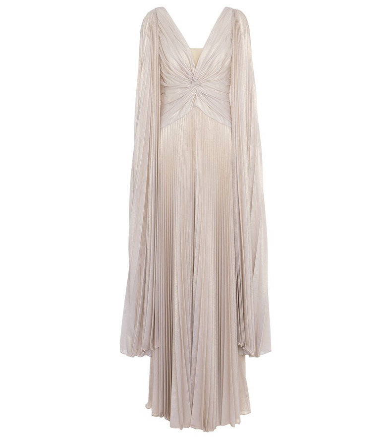 MARCHESA NOTTE Pleated lamé gown in white