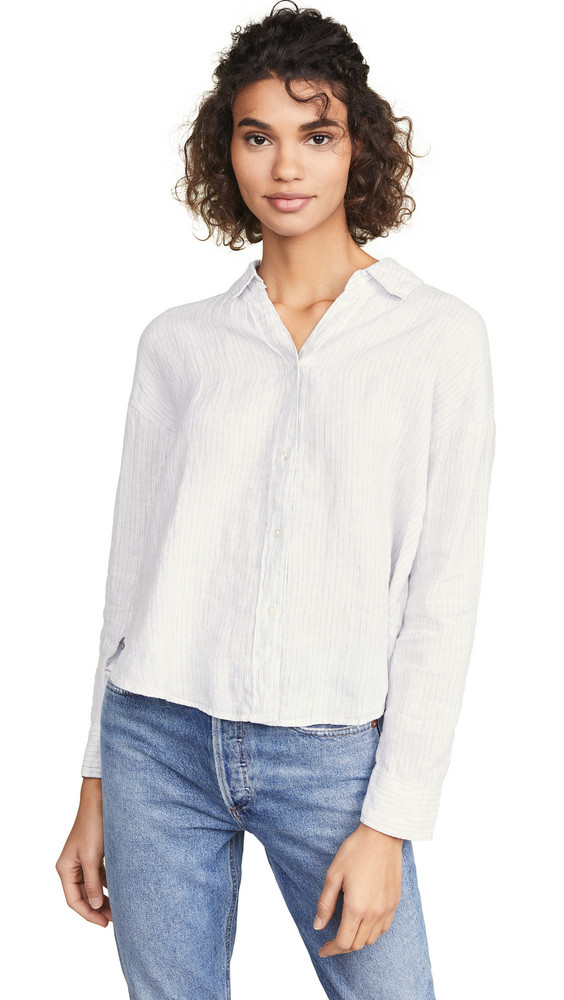 James Perse Relaxed Drape Button Down Shirt in grey / white