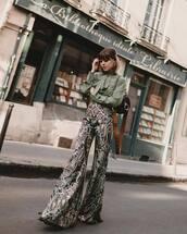 pants,flare pants,high waisted pants,chloe,blouse,black bag