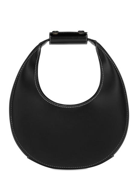 STAUD Mini Moon Smooth Leather Bag in black