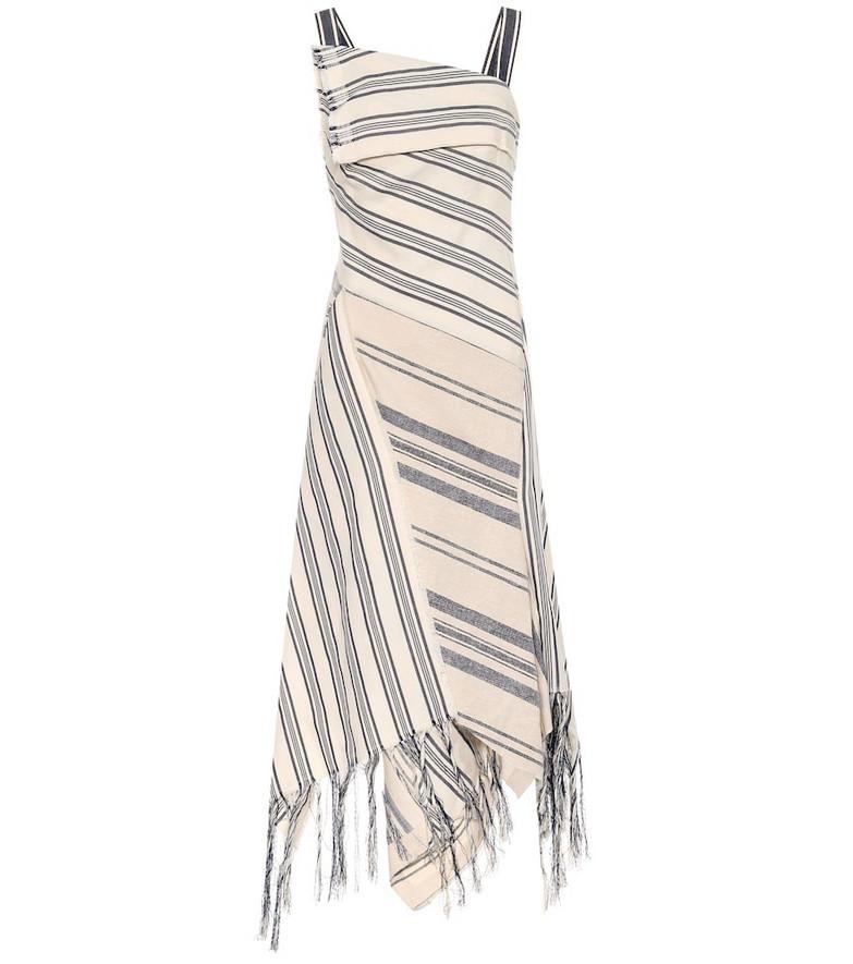 Monse Fringed stripe dress in beige