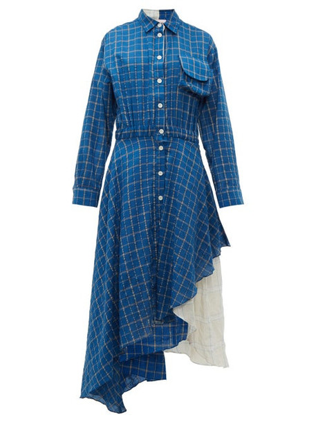 Natasha Zinko - Layered Checked Dress - Womens - Blue Multi