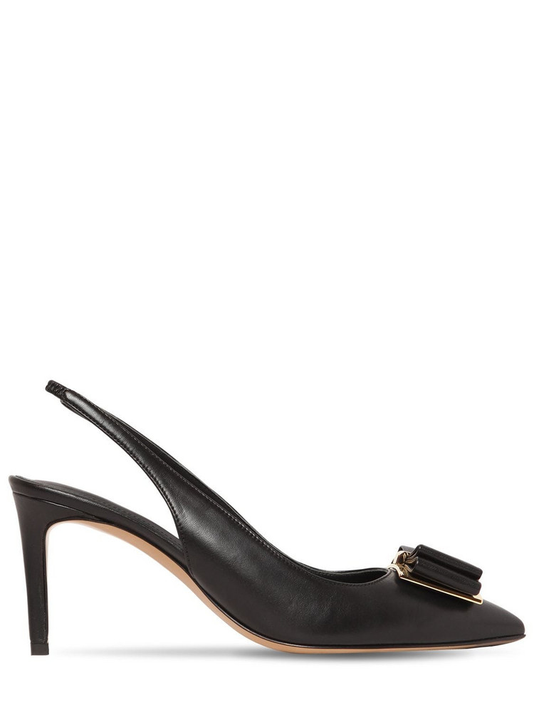 SALVATORE FERRAGAMO 70mm Zahir Leather Slingback Pumps W/bow in black