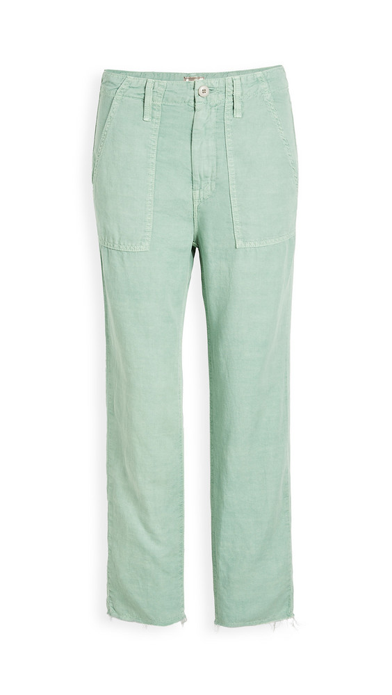 MOTHER The Shaker Chop Crop Pants in green