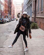 coat,wool coat,leopard print,white sneakers,black leggings,brown bag,gucci bag,leather gloves,vest,beanie