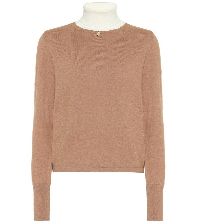 Staud Urchin cotton-blend sweater in beige