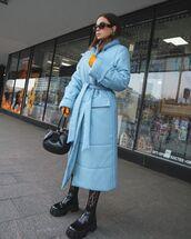 coat,puffer jacket,black boots,ankle boots,tights,black bag,socks