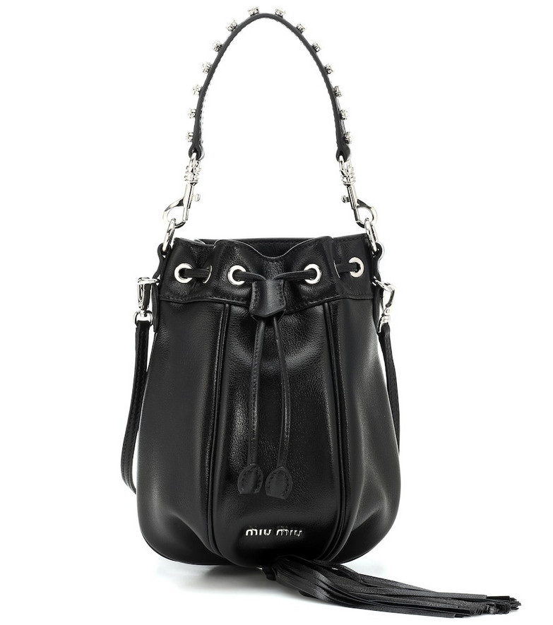 Miu Miu Mini leather bucket bag in black