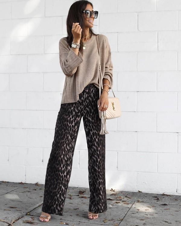 pants high waisted pants leopard print sandal heels sweater ysl bag