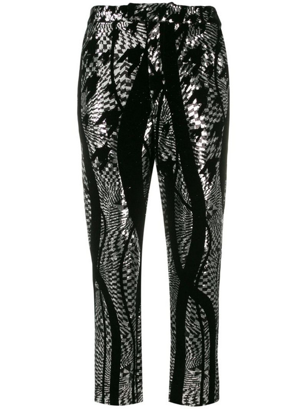 Halpern tapered sequin trousers in black