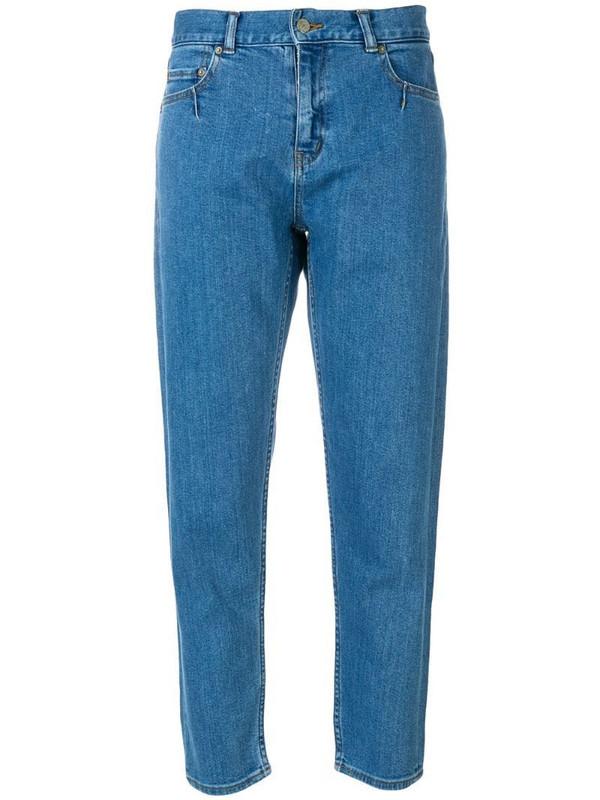 Julien David high-rise cropped jeans in blue