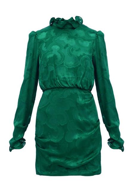 Saloni - Rina Ruffled Silk Blend Jacquard Mini Dress - Womens - Dark Green
