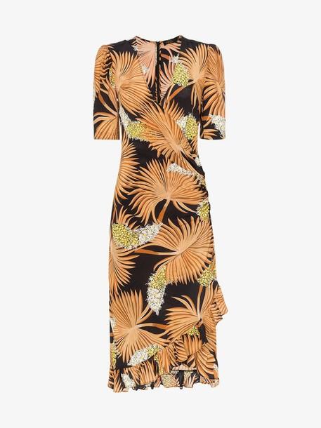 De La Vali shanna printed silk wrap dress in black / brown